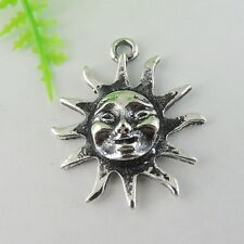 15pcs New Atq Silver Alloy Sun Smiling Face Charms Pendant Craft  30*25mm 38979