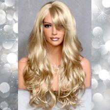Long Wavy Golden Blonde Full Wig Skin Top Bangs Layered Hairpiece 24 RMJO NWT