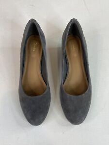 Women's Clarks Artisan Vendra Bloom Suede Gray Wedge Pump Shoe Size 10