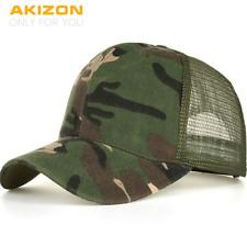 Camouflage Mesh Trucker Cap for Men Camo Plain Mesh Trucker Hat Adjustable