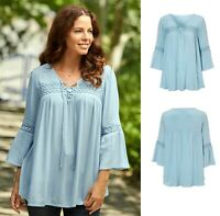 Cellbes Size 8-14 UK Ladies womans gypsy boho long smock summer top tunic blue