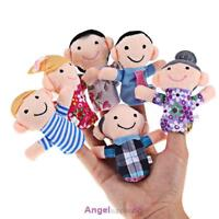 6Pcs Family Finger/ Hand Puppets Plush Cloth Doll Educational Toy for Baby Kids
