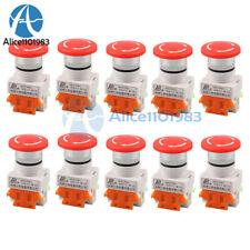1 10pcs Ac 660v 10a Mushroom Cap 1no 1nc Dpst Emergency Stop Push Button Switch