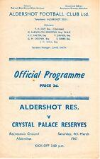 Aldershot v Crystal Palace Reserves Programme 4.3.1961