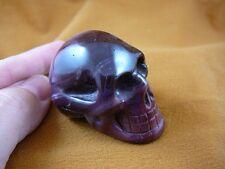 (HH-10) Burgundy pink swirl HUMAN SKULL Mookaite gemstone carving I love skulls