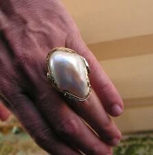 Estate Silver 925 Yellow Gold Color 35 mm Mabe Baroque Pearl Solitaire Ring