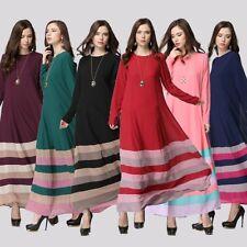 Women Islamic Wear Striped Long Maxi Dress Abaya Jilbab Hijab Muslim Dress M/L