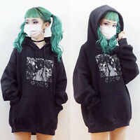 Women Casual Style Winter Hoodie Long Sleeve Japanese Anime Print Hooded Pocket