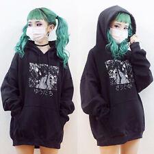 Winter Women  Style Hoodie Long Sleeve Japanese Anime Print Hooded Pocket