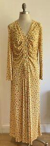 1970s C & A Yellow Floral Vintage Dress, Vintage Size 24 UK