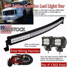 40inch COMBO Curved LED Light Bar + 2X 4inch CREE Pods Offroad SUV UTE 4WD Truck