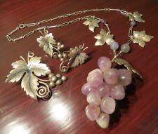 Necklace Earrings Brooch Set Gallegos Dg Sterling Silver Leaf & Amethyst Grape