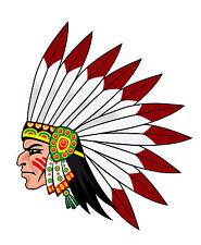 PREMIUM Autoaufkleber Indianer mit Kopfschmuck Aufkleber Sticker Auto Motorrad