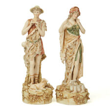 ANTIQUE PAIR ROYAL DUX SHEPHERD FIGURES C.1900