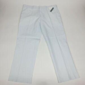 Cubavera Men's Size 38x30 Flat Front Easy Care Linen Blend Pants Bright White