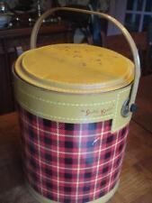 Vintage Skotch Cooler 1950's Mid-Century Tin Ice Bucket Plaid Picnic Tailgate