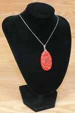 """Unbranded 9"""" Inches Red Carved Dragon Stone Collectible Unisex Necklace!"""