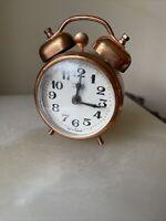 Vintage MOM Copper Tone Desk/Bedside Wind-up Alarm Clock. Made in Hungary.