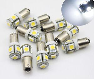 10pcs 6V BA9S T11 Bayonet 5 LED White Instrument Panel Dash Gauge Light Bulbs