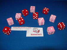 NEW 12 ASSORTED OPAQUE DICE 16mm RED AND PINK, 2 COLORS 6 OF EACH COLOR