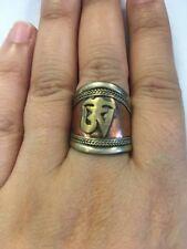 Tibetan Om Yoga Unisex Adjustable Ring Cuff Copper Hippie Nepal Handmade R18