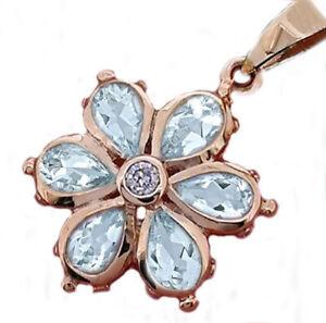 P038 Genuine 9K Yellow or Rose Gold Natural Aquamarine & Diamond Daisy Pendant