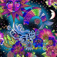 Laurel Burch Celestial Magic Multi Color Metallic Clothworks Fabric
