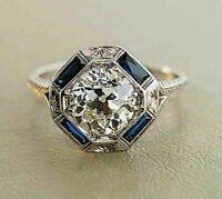 Vintage Art Deco 2Ct Round Diamond &Sapphire Engagement Ring 14k White Gold Over