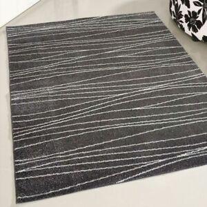 Large Small Runner Black Modern Rugs Living Room Bedroom Striped Design