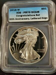 2016-W Silver Eagle ICG PR70 DCAM Lettered Edge 30th Anniv, ONLY 5,996 STRUCK