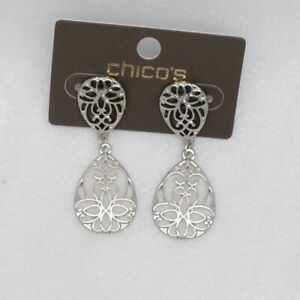 chico's women jewelry silver plated openwork pattern teardrop stud post earrings