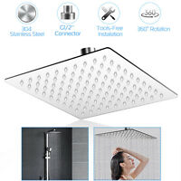 8'' Square Stainless Steel Rain Shower Head Chrome Bathroom Top Sprayer Faucet