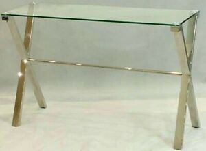 CONSOLE HALLWAY ENTRY TABLE STAINLESS STEEL SILVER TEMPERED GLASS TOP