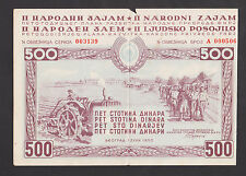 YUGOSLAVIA  500 Dinara 1950 aXF, 2nd National Loan, tractor horses,wheat, BOND