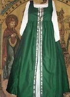 Medieval Renaissance Gown SCA Garb Costume ForestGreen IrishStylOvrds SzFlex LXL