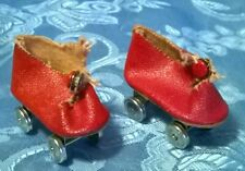"""Vtg 1940's?50's""""Arranbee""""R&am p;B Doll'S Red Oilcloth Roller Skates.For 14""""Doll.Vg.Co"""