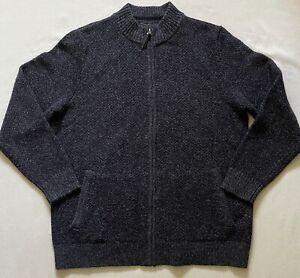 Pendleton Sweater Mens Size Large Zip Up Washable Wool Dark Gray Shetland Wool