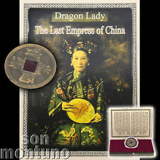 DRAGON LADY - Last Empress of China - Antique Brass Qing Dynasty Cash Coin + COA