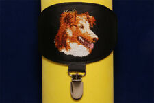 Collie arm band ring number holder with clip. Dog show accessories.