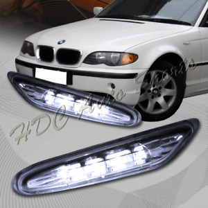 For 2002-2005 BMW E46 3-Series Clear Lens LED Side Marker Lights Signal Lamps