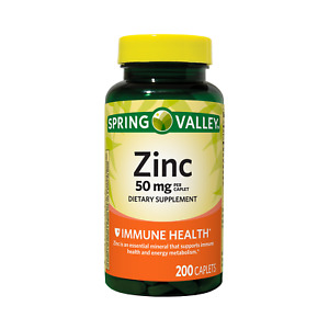 Zinc Caplets Immune Support Health, 50 Mg 200 Ct Spring Valley Free Shipping New