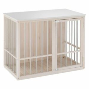 Dog Kennel Indoor Robust Wooden Cage Crate Double Lock Easy Clean Spacious