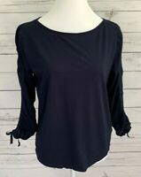 Talbots Top Womens Small S Blue Solid 3/4 Sleeve Ruched Stretch Blouse Cotton