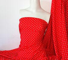 Red/white Polka-dot Lycra/Spandex 4 way stretch Matt Finish Fabric