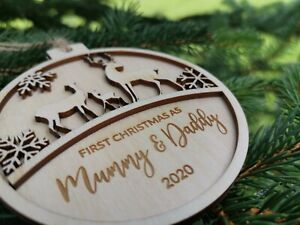 First Christmas As Mummy and Daddy Gift Christmas Tree Bauble for Parents C17