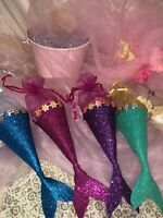 Shinny Glittered Little Mermaid Party Candy Bags Kids Birthday Favor Bags 8/16