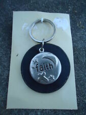 "Key Ring Black Plastic Circle with Silver Top Circle ""Faith"" Cross Stars & Moon"