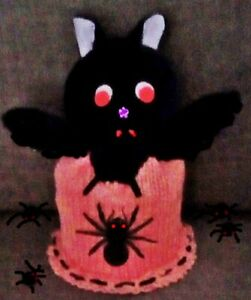Knitted Toilet Roll Cover-Novelty Halloween Toilet Roll Cover With Black Bat UK