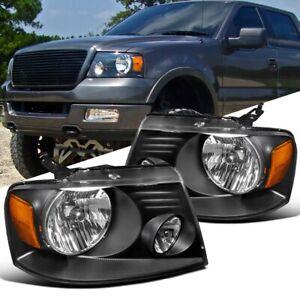 FULL BLACK HEADLIGHTS LAMP FORD F150 Lincoln Mark LT 2004-2008 XL FX XT CAB CREW