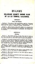 By-Laws Delaware County Shrine Club Lu Lu Temple A.A.O.N.M.S. Masonic Brochure